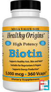 Biotin, High Potency, 5,000 mcg, Healthy Origins, 360 Vcaps