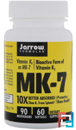 MK-7, Vitamin K2 as MK-7, Jarrow Formulas, 90 mcg, 60 Softgels