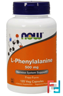L-Phenylalanine,  Now Foods, 500 mg,120 Capsules