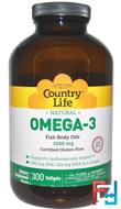 Omega-3, 1000 mg, Country Life, 300 Softgels