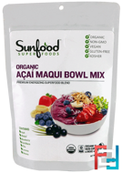 Organic Acai Maqui Bowl Mix, Sunfood, 6 oz, 170 g