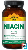 Niacin, Country Life, 500 mg, 90 Tablets