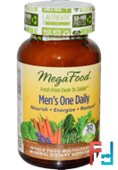 Men's One Daily, Iron Free Formula, MegaFood, 30 Tablets