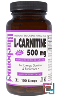 L-Carnitine, Bluebonnet Nutrition, 500 mg, 100 licaps
