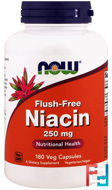 Flush-Free Niacin, 250 mg, Now Foods, 180 Veg Capsules