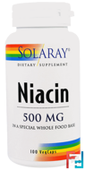 Niacin, 500 mg, Solaray, 100 Veggie Caps