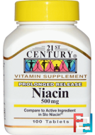 Niacin, Prolonged Release, 21st Century, 500 mg, 100 Tablets