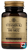 Natural Vitamin K2, Solgar, 100 mcg, 50 Vegetable Capsules