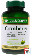 Cranberry, With Vitamin C, Nature's Bounty, 250 Rapid Release Softgels