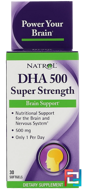 DHA 500, Super Strength, Brain Support, 500 mg, Natrol, 30 Softgels
