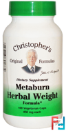 Metaburn Herbal Weight Formula, Christopher's Original Formulas, 450 mg, 100 Veggie Caps