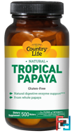 Natural, Tropical Papaya, Country Life, 500 Wafers