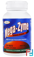 Mega-Zyme, Systemic Enzymes, Enzymatic Therapy, 200 Tablets