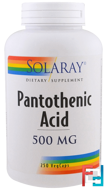Pantothenic Acid, Solaray, 500 mg, 250 Veggie Caps