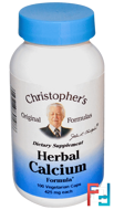 Herbal Calcium Formula, Christopher's Original Formulas, 425 mg, 100 Veggie Caps