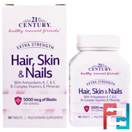Hair, Skin & Nails, Extra Strength, 21st Century, 90 Tablets