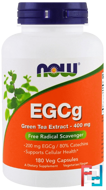 EGCg, Green Tea Extract, Now Foods, 400 mg, 180 Veg Capsules
