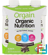Organic Nutrition Complete Protein Shake, Creamy Chocolate Fudge, Orgain, 4 Pack, 11 fl oz (330 ml)