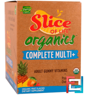 Slice of Life, Organics, Complete Multi+, Adult Gummy Vitamins, Organic Fruit Flavors, Hero Nutritional Products, 15 Daily Packs, 2 Gummies Each