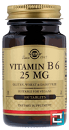 Vitamin B6, Solgar, 25 mg, 100 Tablets