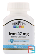 Iron, 27 mg, 21st Century, 110 Tablets