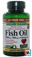 Odor-Less Fish Oil, Triple Strength, 1400 mg, Nature's Bounty, 39 Coated Softgels