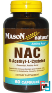 NAC N-Acethyl-L-Cysteine, Mason Naturals, 60 Capsules