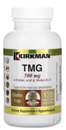TMG, With Folinic Acid & Methyl B-12, 500 mg, Kirkman Labs, 120 Capsules