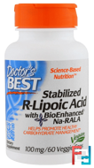 Best Stabilized R-Lipoic Acid, 100 mg, Doctor's Best, 60 Veggie Caps