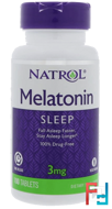 Melatonin, Time Release, Natrol, 3 mg, 100 Tablets