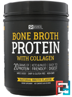 Bone Broth Protein with Collagen, Natural Broth, Sports Research, 16.04 oz (455 g)