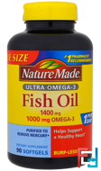 Ultra Omega-3, Fish Oil, Nature Made, 1400 mg , 90 Softgels