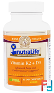 Vitamin K2 + D3, NutraLife, 60 Easy Chew Tablets