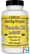 Vitamin D3, 2,400 IU, Healthy Origins, 360 Softgels
