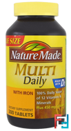 Multi, Daily, With Iron, Nature Made, 300 Tablets