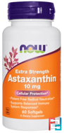 Astaxanthin, Extra Strength, Now Foods, 10 mg, 60 Softgels