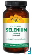 Selenium, 100 mcg, Country Life, 180 Tablets