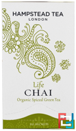 Organic Spiced Green Tea, Life Chai, Hampstead Tea, 20 Sachets