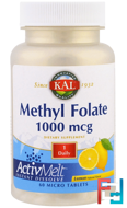 Methyl Folate, Lemon, KAL, 1000 mcg, 60 Micro Tablets