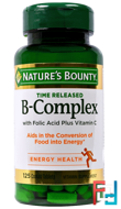 B-Complex, Time Released, Nature's Bounty, 125 Coated Tablets