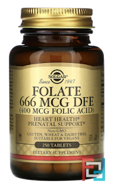 Folate 666 MCG DFE (400 MCG Folic acid), Solgar, 400 mcg, 250 Tablets