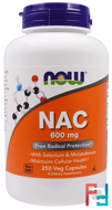 NAC, Now Foods, 600 mg, 250 Veg Capsules