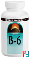 Vitamin B-6, 100 mg, Source Naturals, 100 Tablets