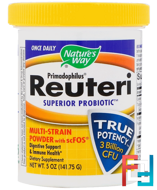Primadophilus, Reuteri Superior Probiotic, Multi-Strain Powder with scFOS, Nature's Way, 5 oz (141.75 g)