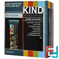 Nuts & Spices, Dark Chocolate Nuts & Sea Salt, KIND Bars, 12 Bars, 1.4 oz (40 g) Each
