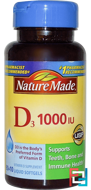 Vitamin D3, Nature Made, 1000 IU, 90 + 10 Liquid Softgels