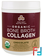 Organic Bone Broth Collagen, Chocolate, Dr. Axe / Ancient Nutrition, 16.2 oz (460 g)