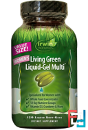 Women's Living Green Liquid-Gel Multi, Irwin Naturals, 120 Liquid Soft-Gels