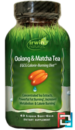 Oolong & Matcha Tea, EGCG Calorie-Burning Diet, Irwin Naturals, 63 Liquid Soft-Gels