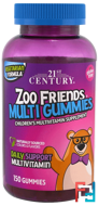 Zoo Friends Multi Gummies, Children's Multivitamin Supplement, 21st Century, 150 Gummies